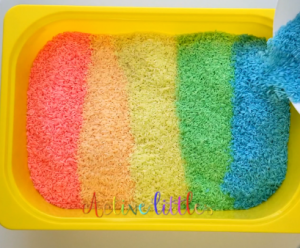DIY rainbow rice using paint only