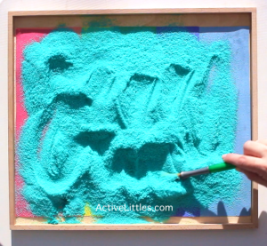 salt tray sand tray handwriting skills preschool