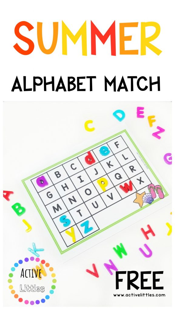 photograph relating to Alphabet Matching Game Printable named Summer months Pleasurable Alphabet Sport Recreation - Fast paced Littles