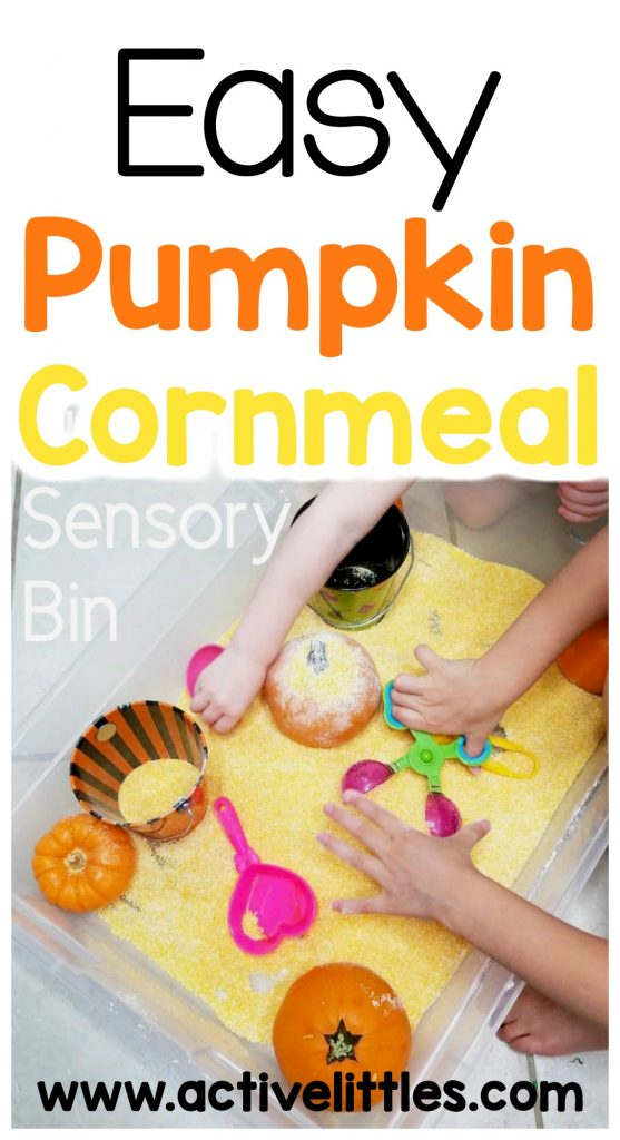 easy pumpkin cornmeal sensory play for kids