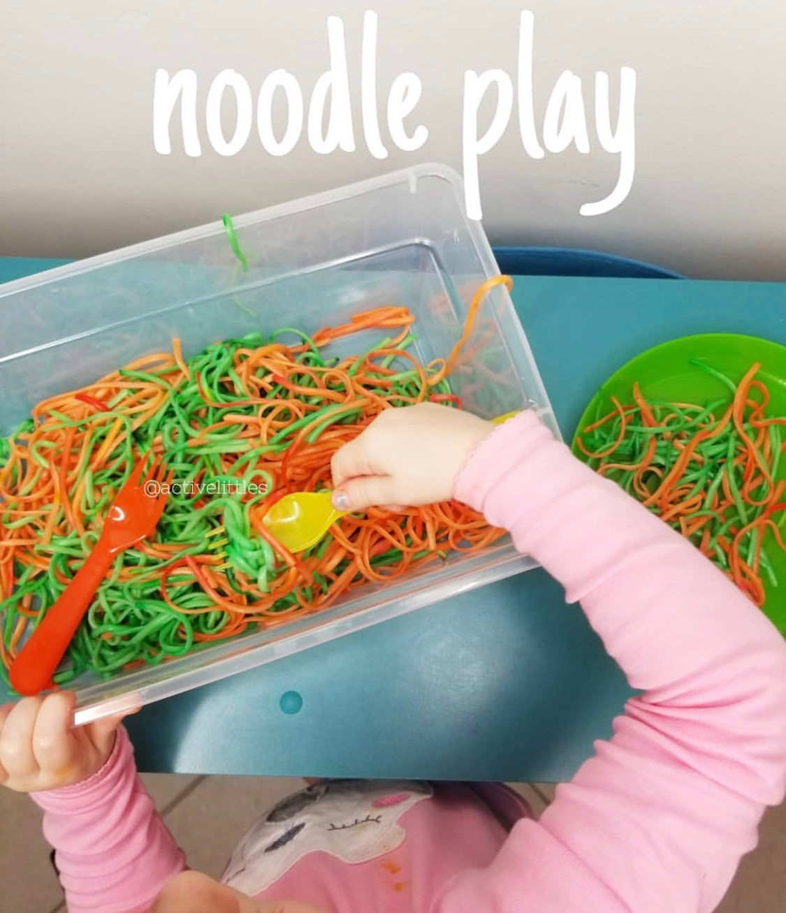 halloween spaghetti activty for kids with manipulatives