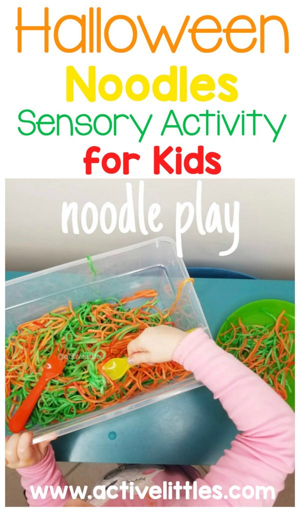 halloween noodles sensory activity for kids