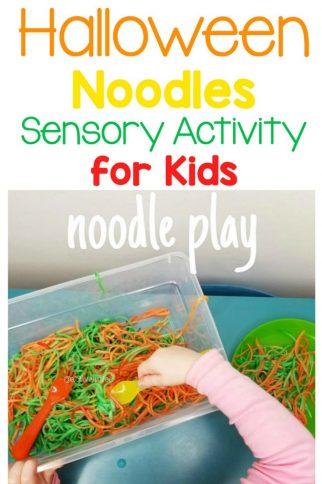 Halloween Noodles Sensory Activity Bin