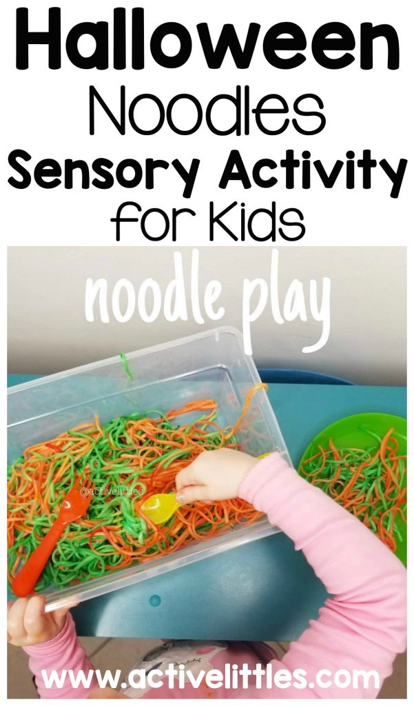 halloween noodles sensory activity for toddlers