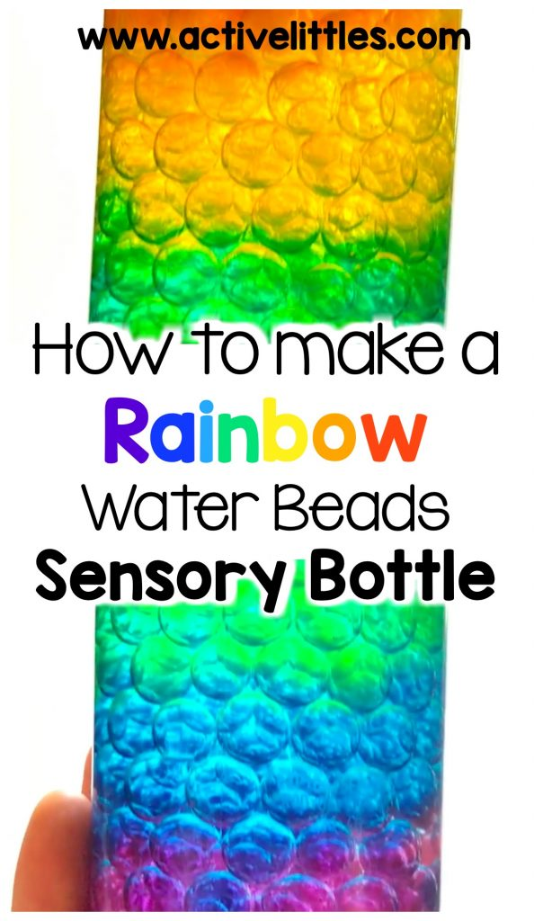 how to make a rainbow water beads sensory bottle