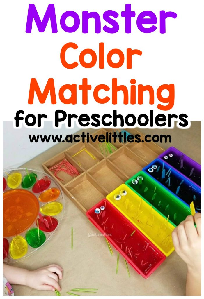 monster color matching activity for preschoolers