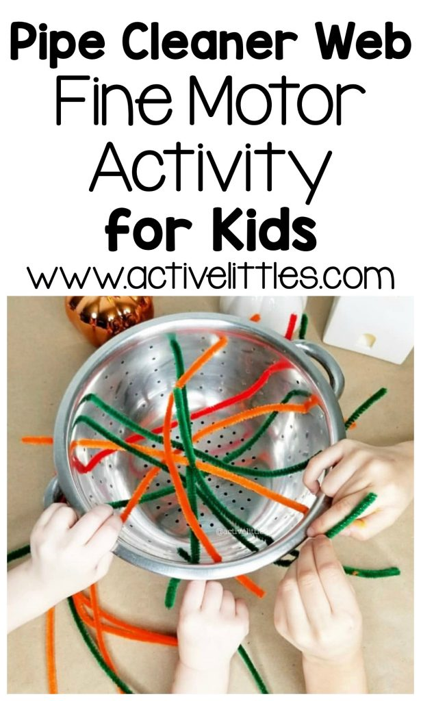 pipe cleaner web fine motor activity for kids