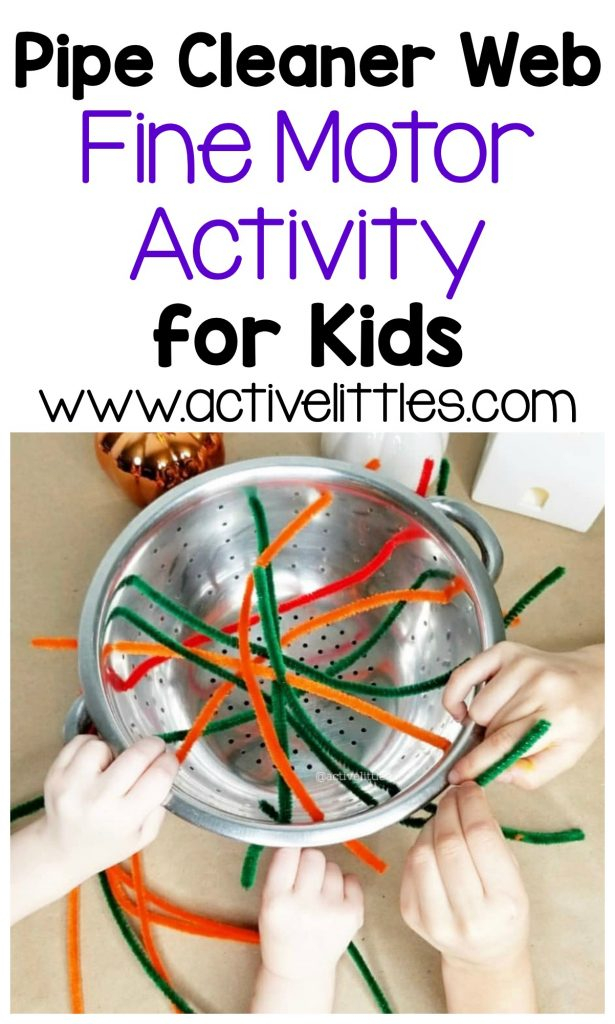 pipe cleaner web fine motor activity for kids toddlers and preschool
