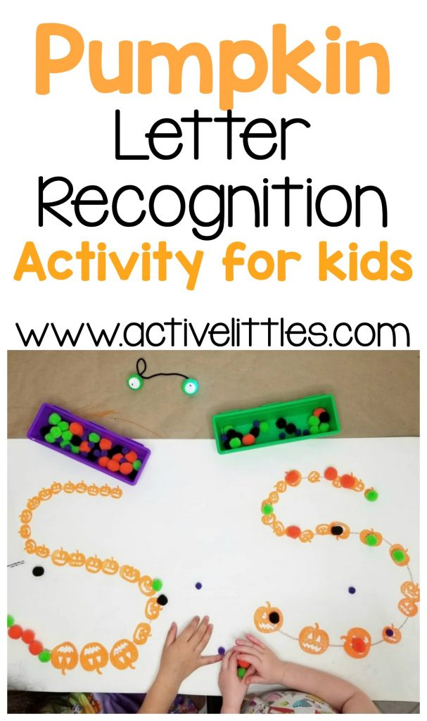 pumpkin letter recognition activity for kids