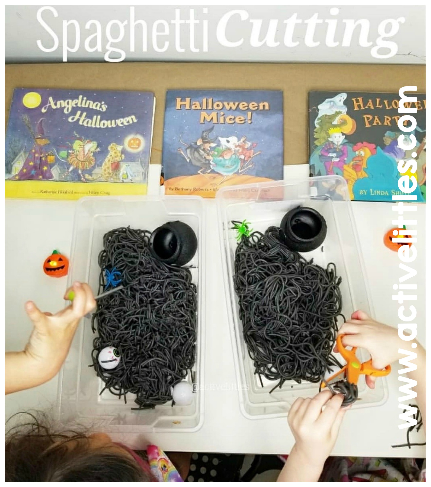 spaghetti cutting halloween activity for kids