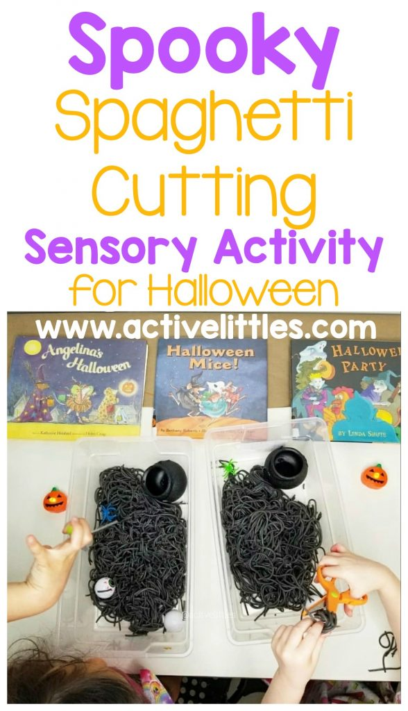 spooky spaghetti cutting sensory activity for halloween