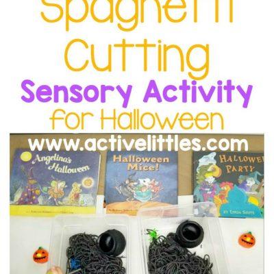 spooky spaghetti cutting sensory play for halloween