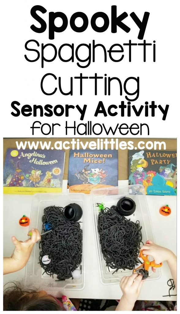 spooky spaghetti cutting sensory play for kids
