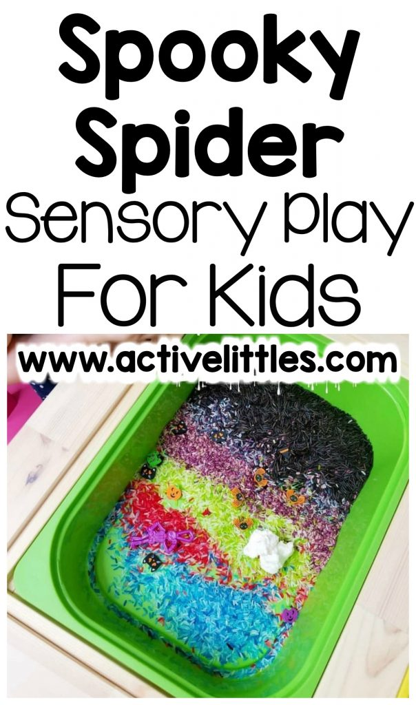 spooky spider sensory bin for kids
