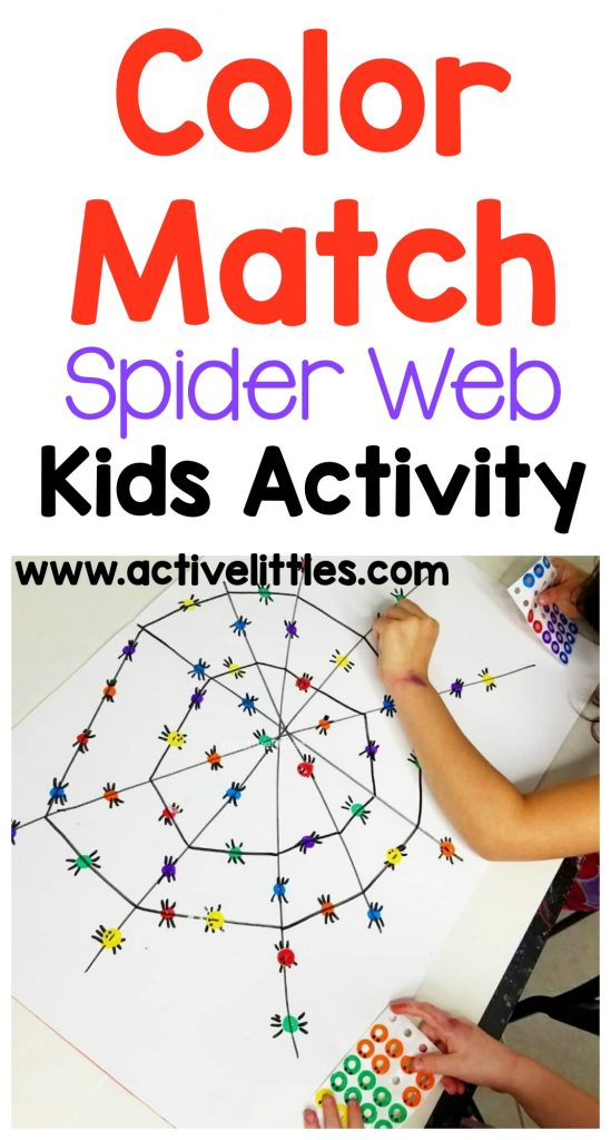 color matching spider web kids activity