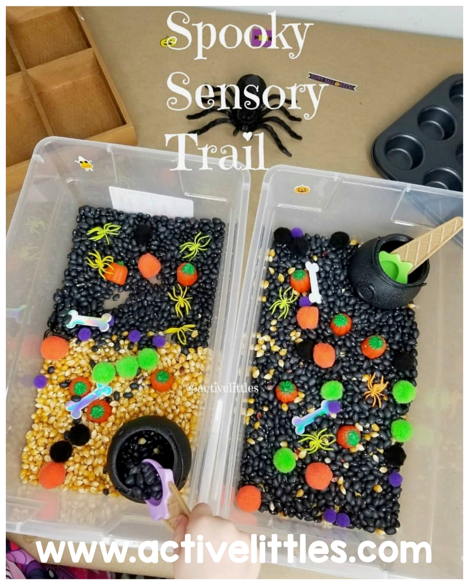 spooky halloween sensory bin for kids at home