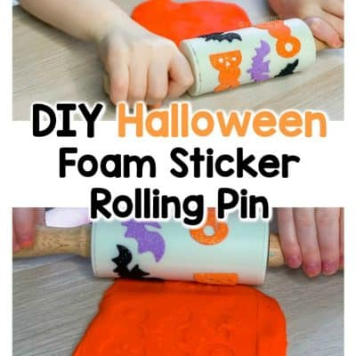 diy halloween foam sticker rolling pin for play dough