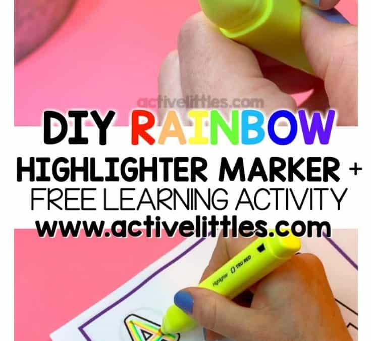 DIY Rainbow Highlighter Marker and FREE Alphabet Match Printable