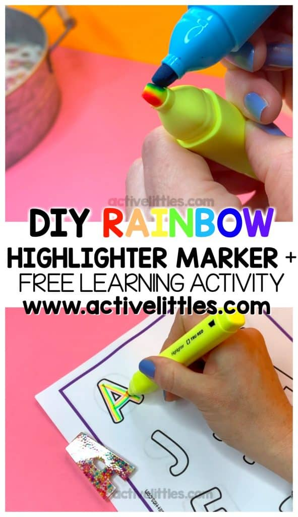 diy rainbow highlighter and free learning activity