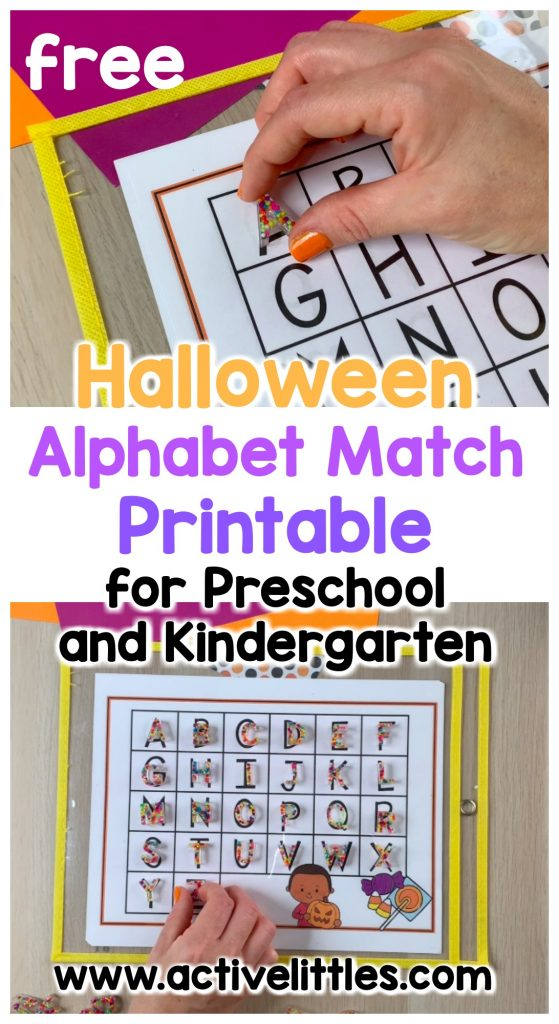halloween alphabet match printable for preschool and kindergarten