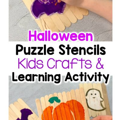 halloween puzzle stencils kids crafts and learning activity