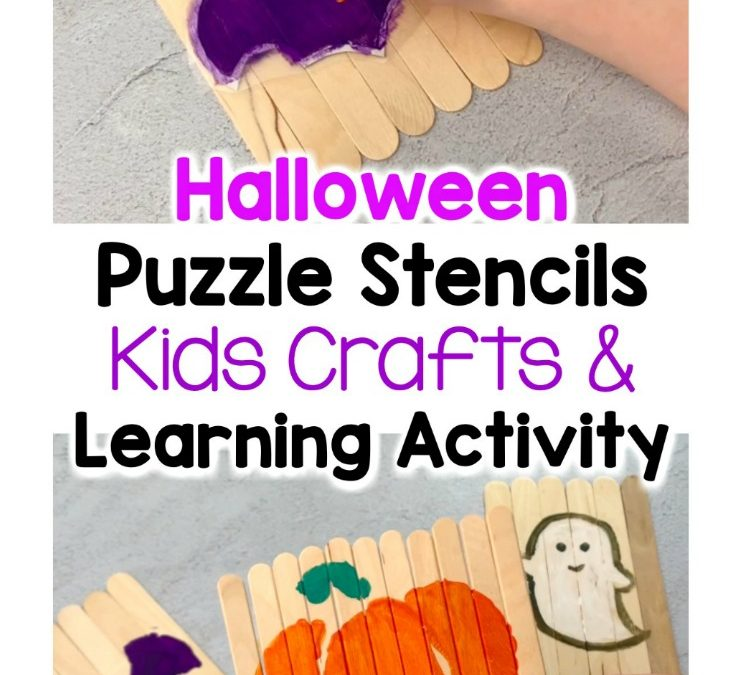 Spooky Halloween Puzzle Stencils Kids Activity + Free Printable