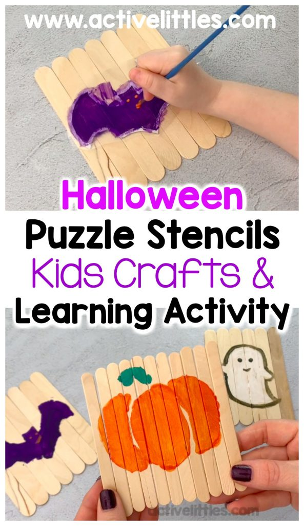halloween puzzle stencils kids crafts & learning activity