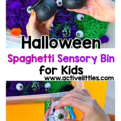 halloween spaghetti sensory bin for children