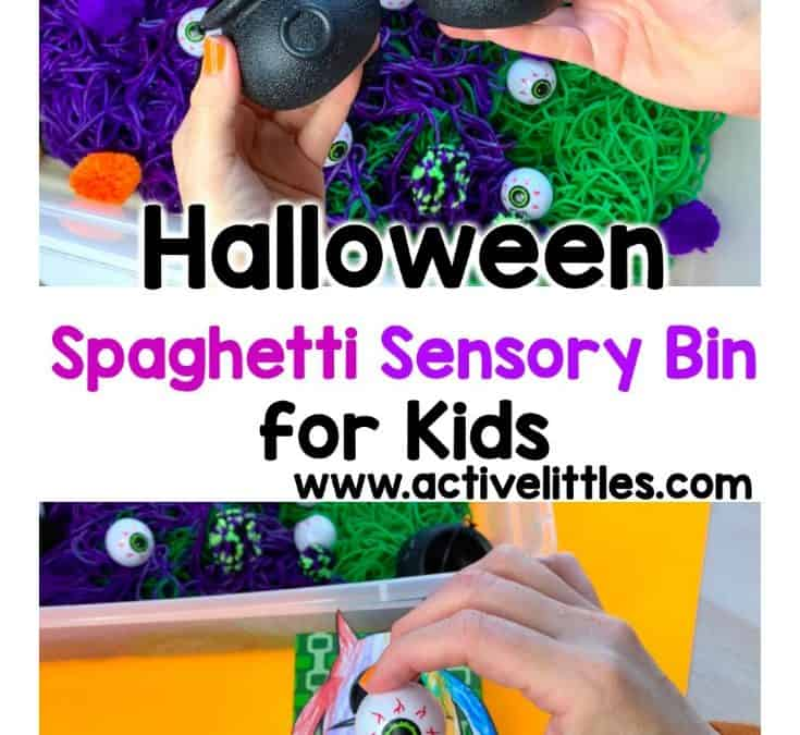 Halloween Sensory Bin with Spaghetti for Kids