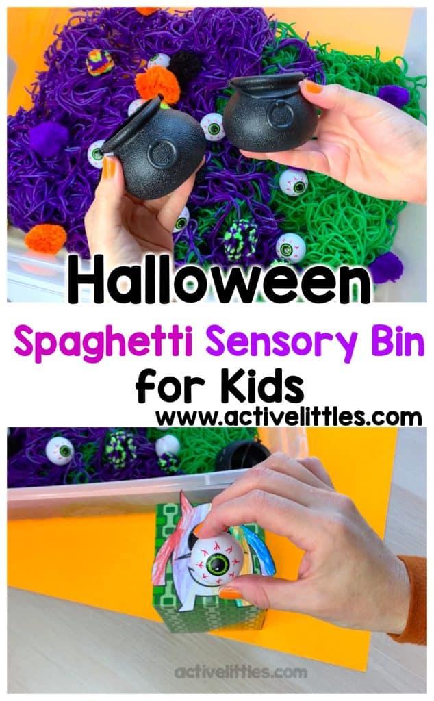 halloween spaghetti sensory bin for kids