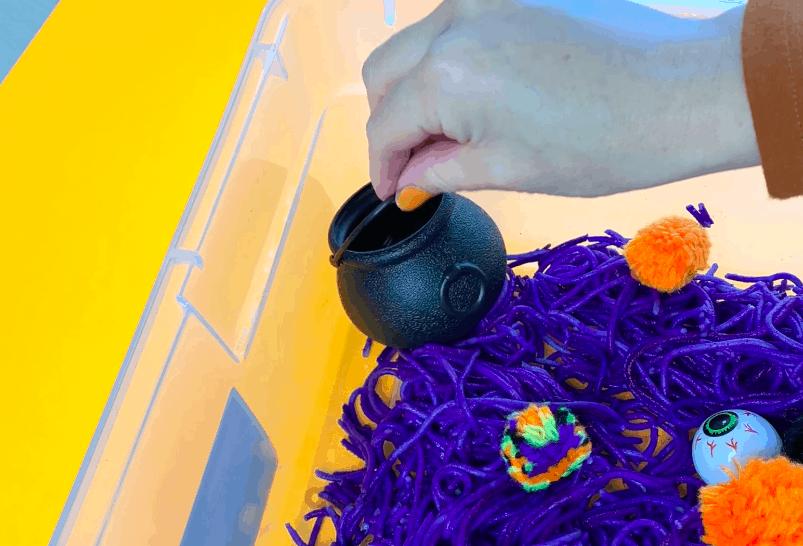 halloween spooky sensory bin for preschool