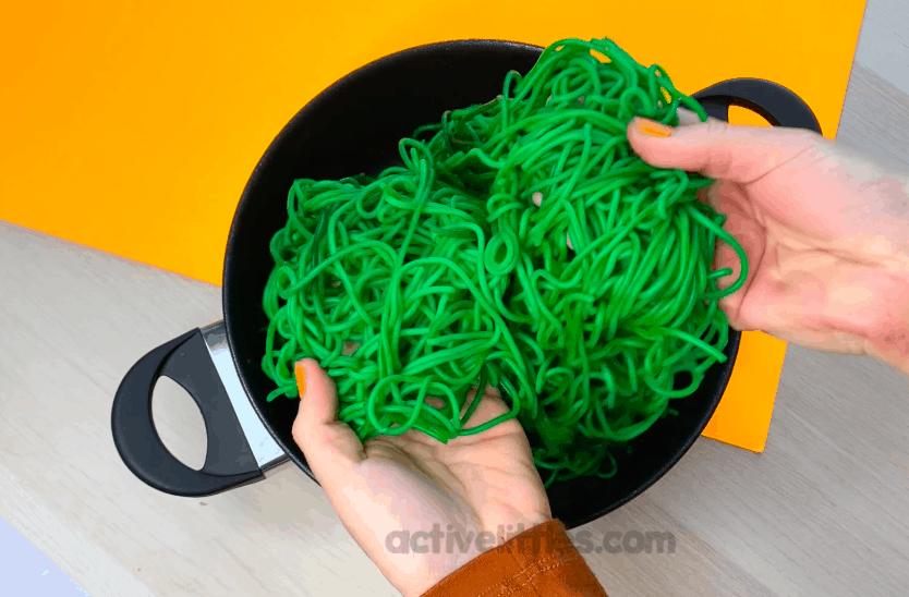 halloween spooky spaghetti sensory bin