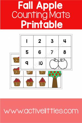 Fall Apple Counting Mats Printable
