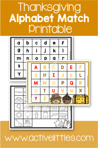 Thanksgiving Alphabet Match Printable