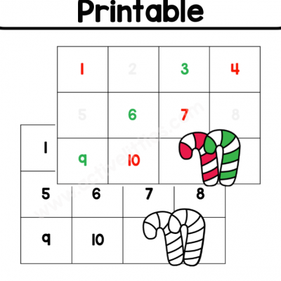 Candy Cane Counting Mats Printable
