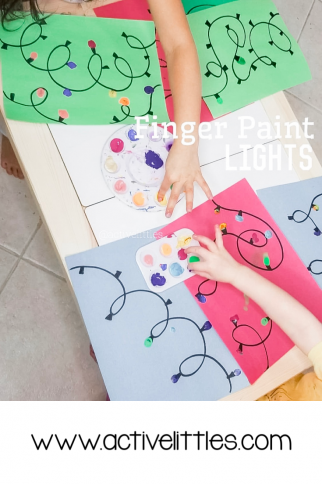 Christmas Lights Finger Painting for Kids