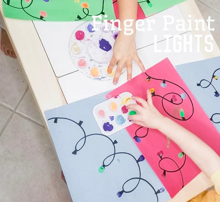 Christmas Lights Finger Painting for Kids