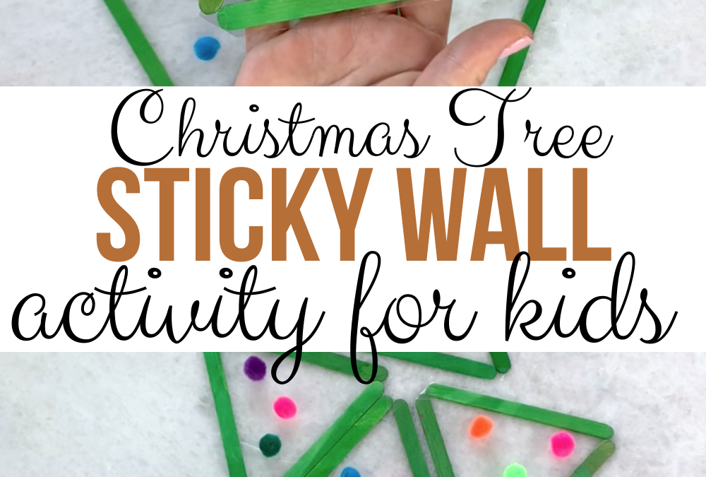 Christmas Tree Pom Pom Sticky Wall Craft