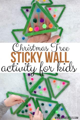 Christmas Tree Pom Pom Sticky Wall Craft