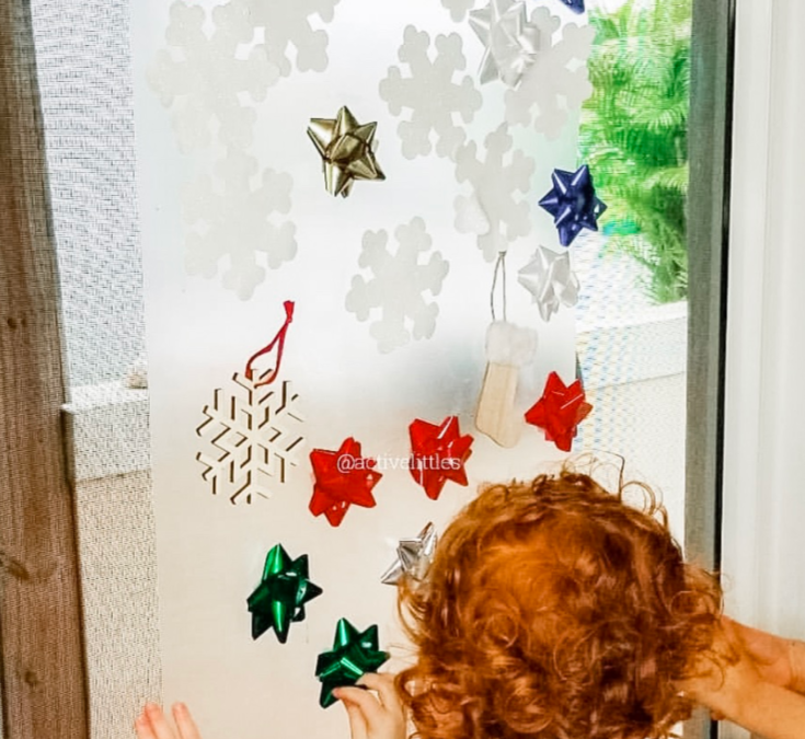 Holiday Sticky Wall Activity for Toddlers