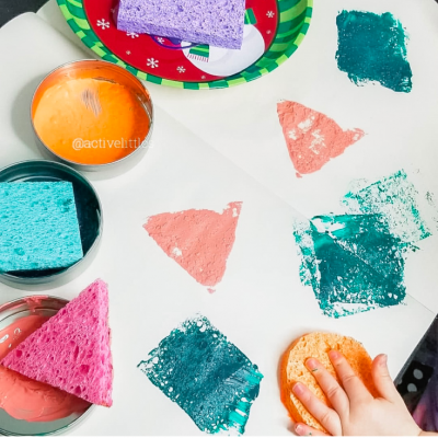 Spong Painting Shapes for kids