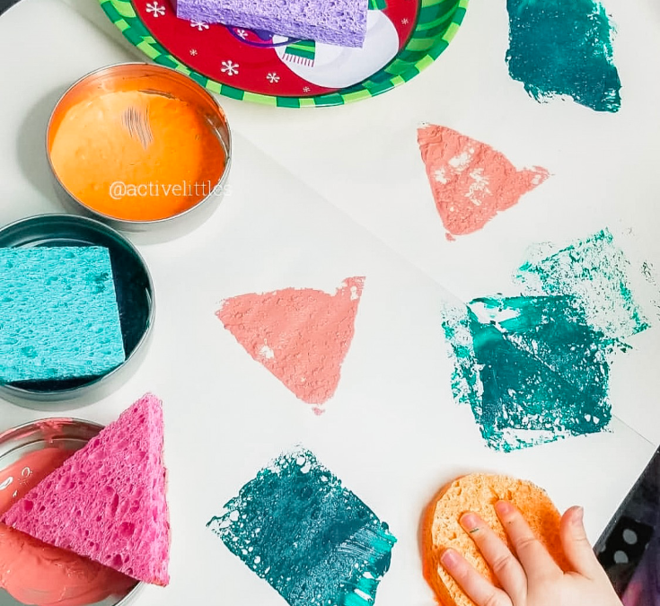 Sponge Painting Shapes for Kids