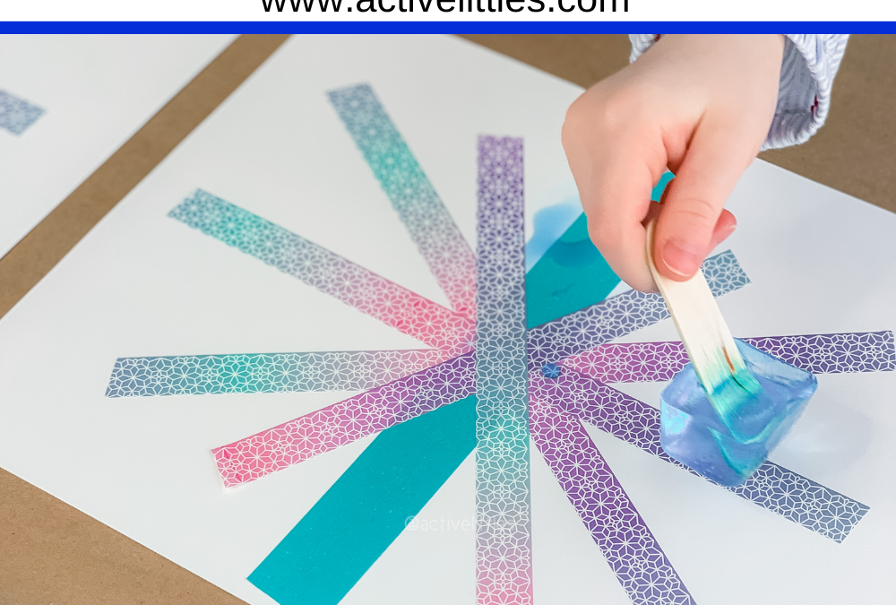 Ice Painting Preschool Tape Resist Kids Activity