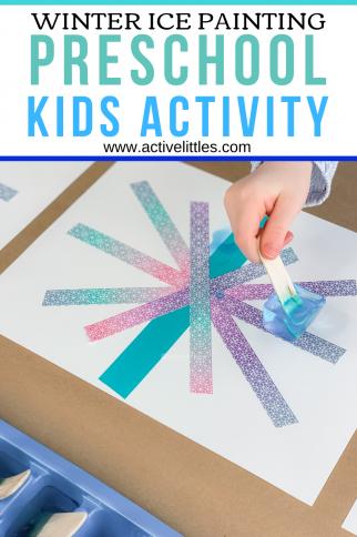 Ice Painting Preschool Tape Resist Kids Activity