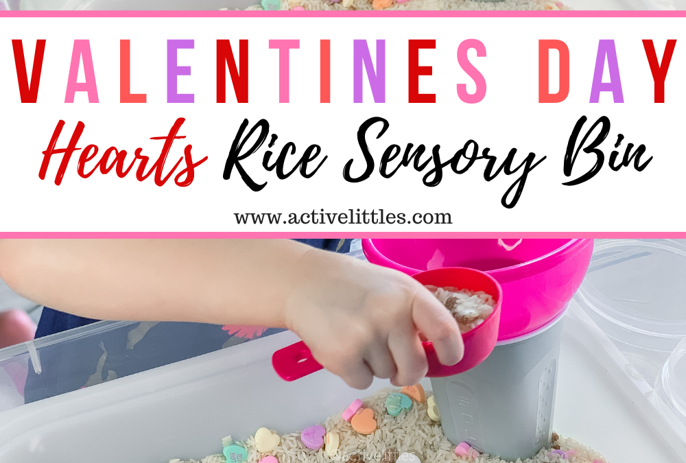 Valentines Day Hearts Rice Sensory Bin