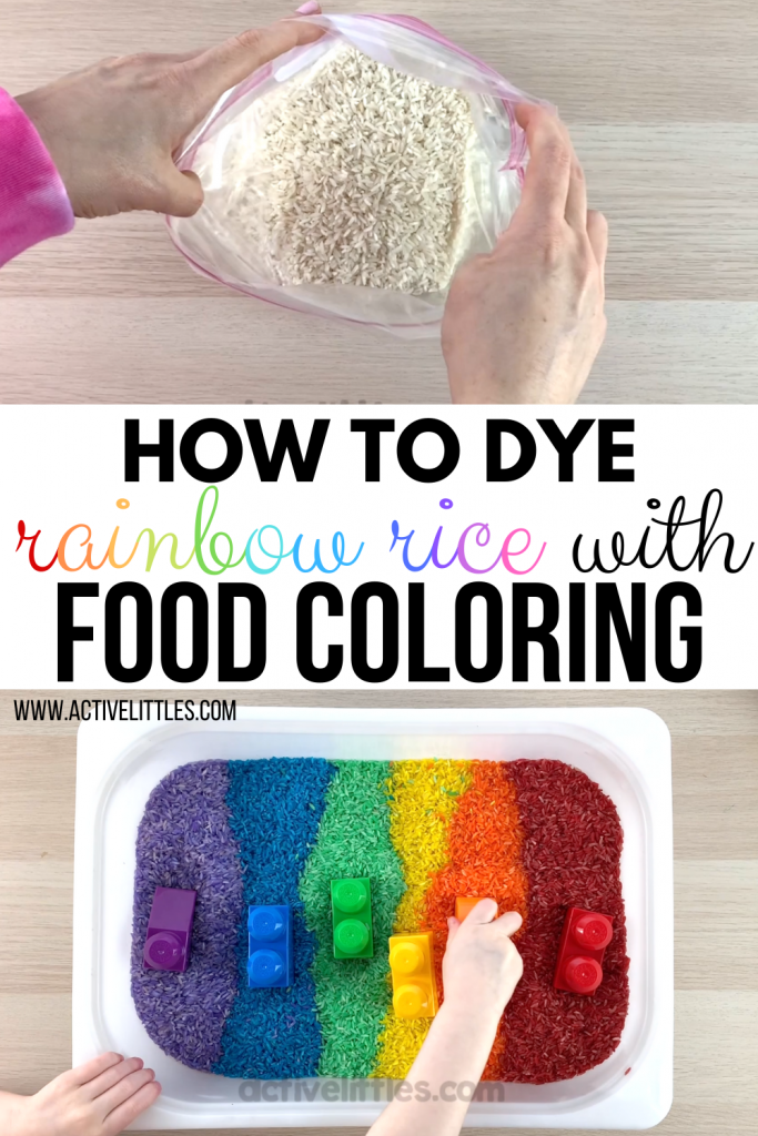 diy rainbow rice for kids