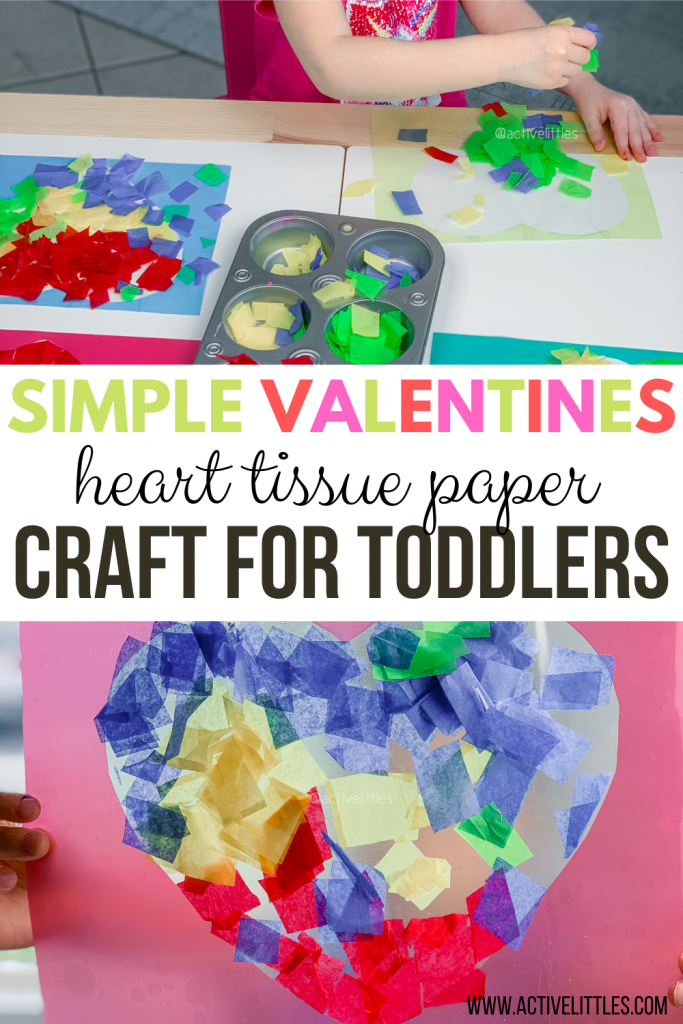 heart tissue paper contact paper craft for kids