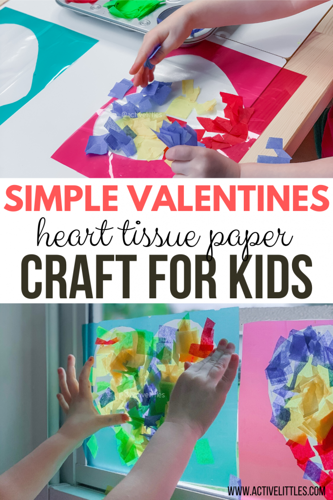 heart tissue paper craft for kids