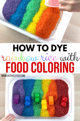 How to Dye Rainbow Rice using Food Coloring for Sensory Play