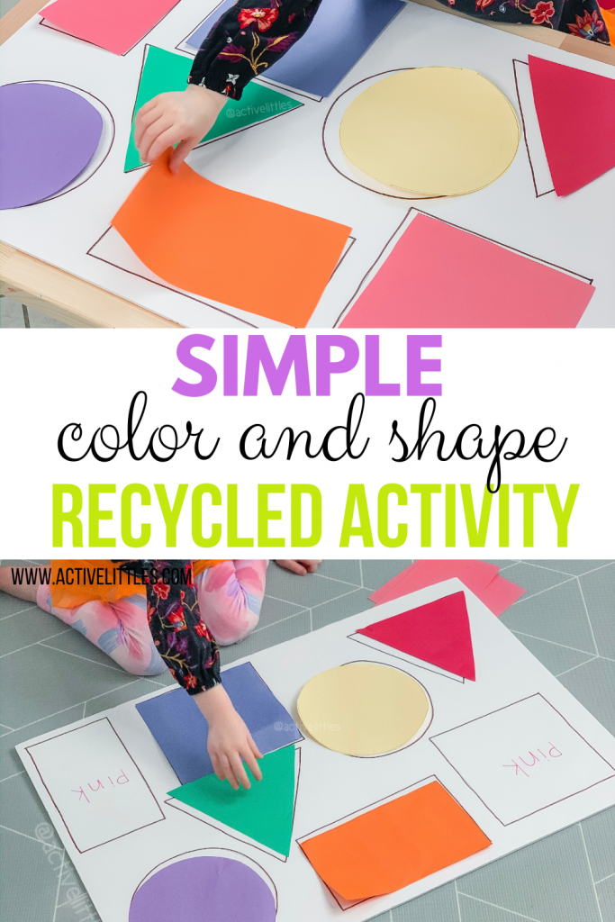 simple color and shape recycled activity for kids